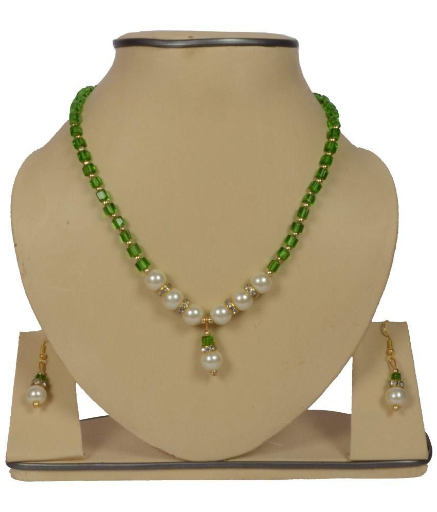 03ad51a219c CR Green Pearl Necklace Set - Buy CR Green Pearl Necklace Set Online at  Best Prices in India on Snapdeal