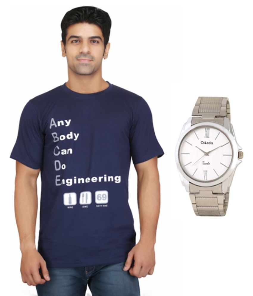 Crazeis Blue Cotton T-shirt With Analog Watch