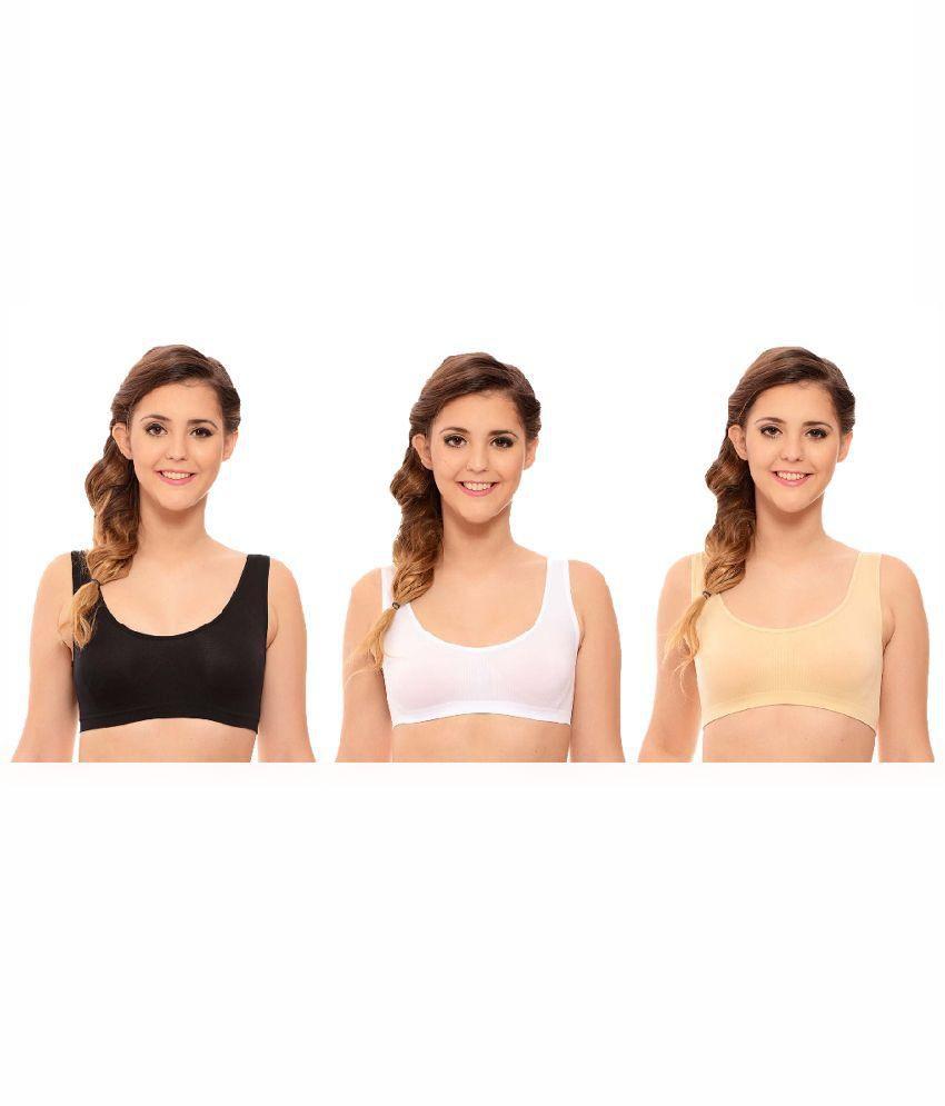 Farji Darji Multi Color Cotton Non-Padded Bra Pack of 3