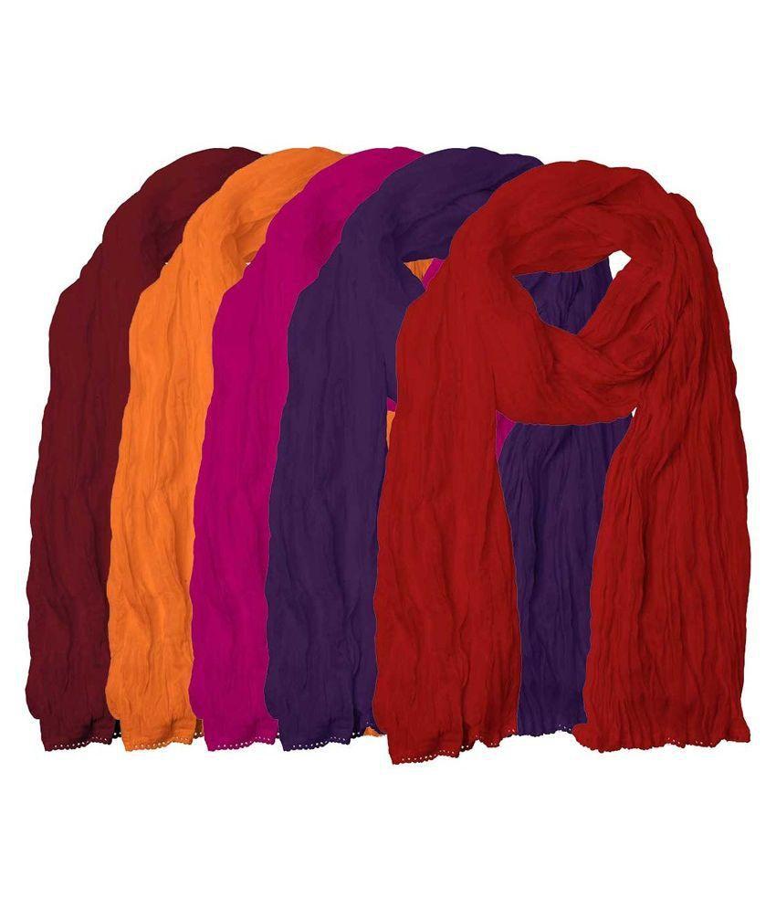 Rooliums Multi Color Cotton Dupattas - Pack Of 5