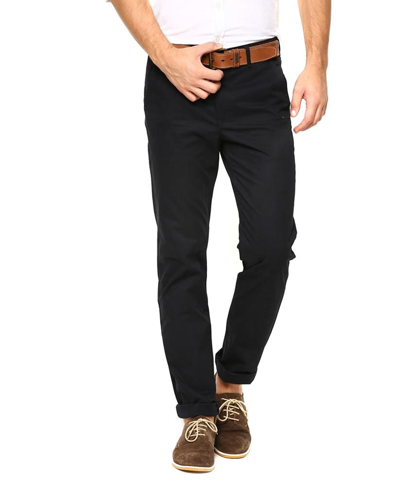 Ad & Av Black Regular Fit Casual Chino