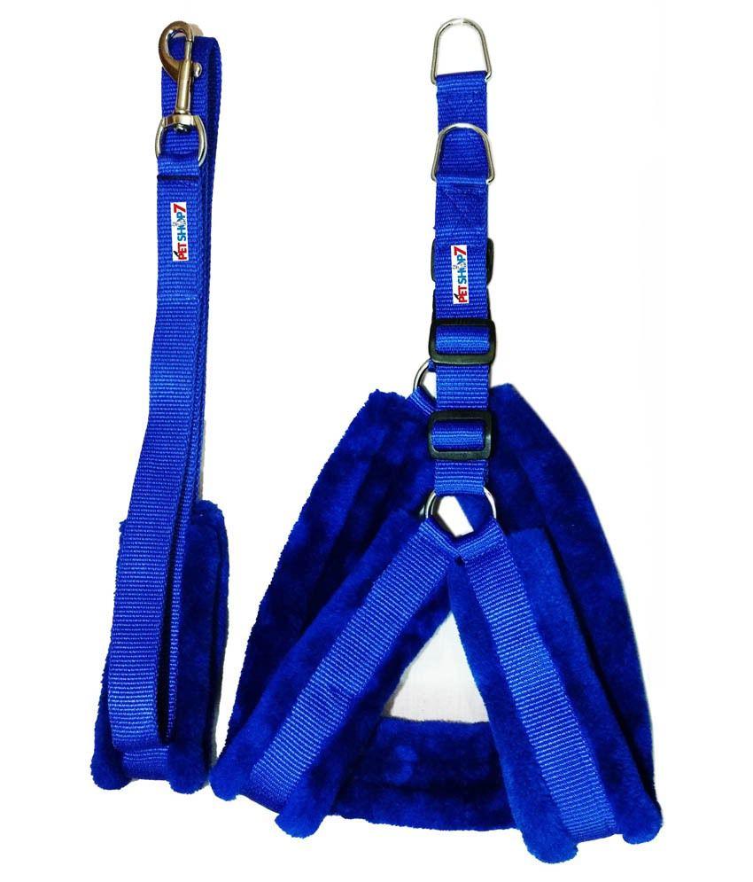 Petshop7 Nylon Blue Fur 1.25 Inch (large) Dog Harness & Leash