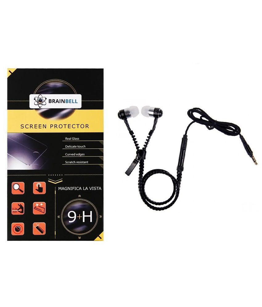 Brainbell Tempered Glass Screen Guard For Samsung Galaxy Note 2 With Zipper Earphone