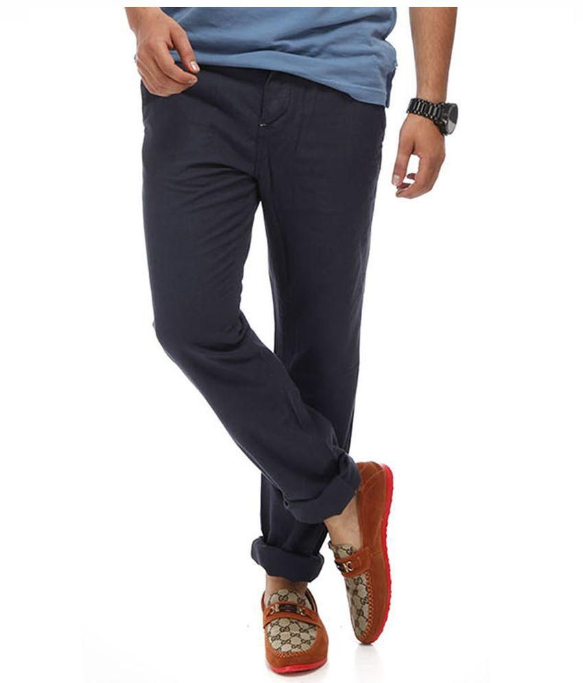 Chlorophile Navy Regular Fit Flat Trousers
