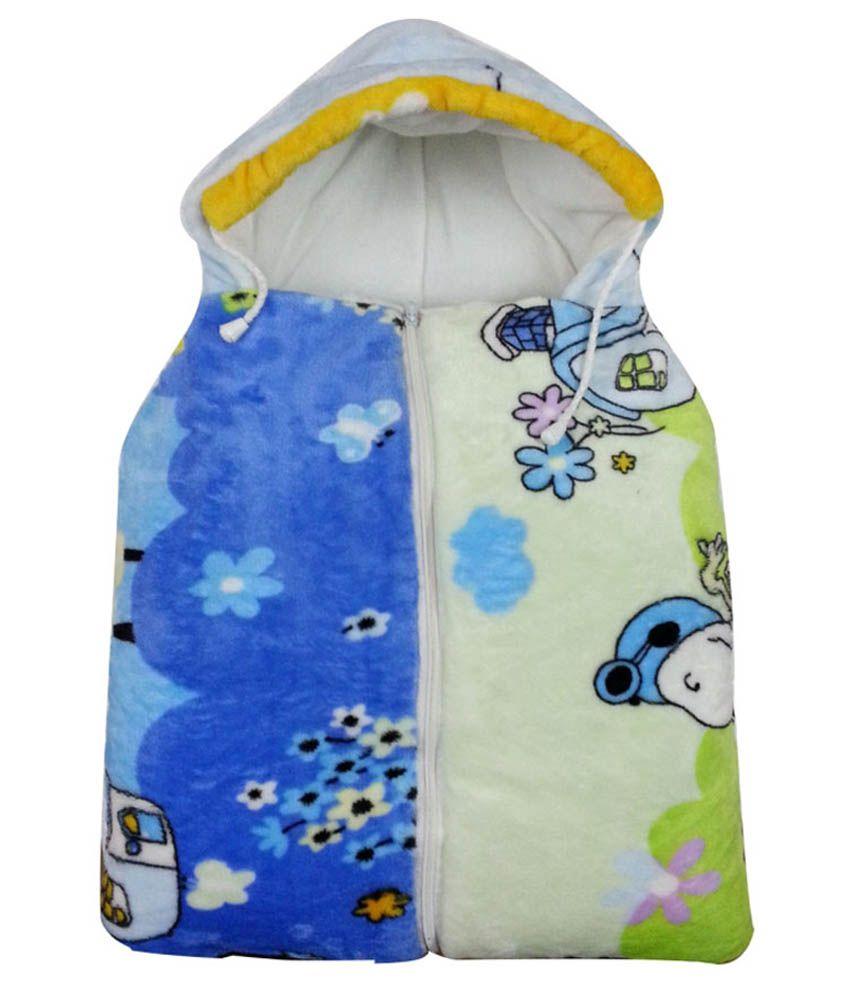 Cute Baby Blue And Green Baby Sleeping Bag