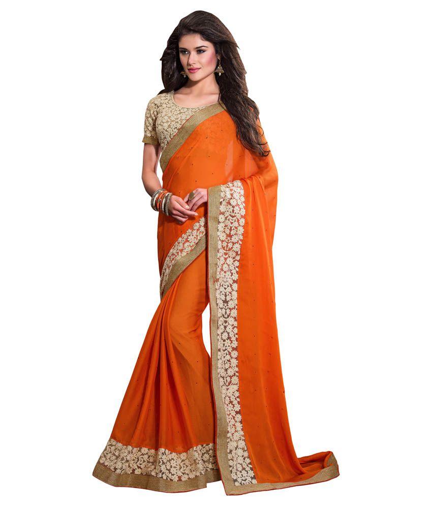 Your Choice Orange and Beige Chiffon Saree