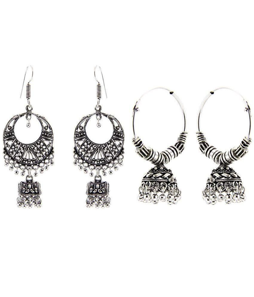 Kaizer Jewelry Silver Jhumkis - Pack of 2