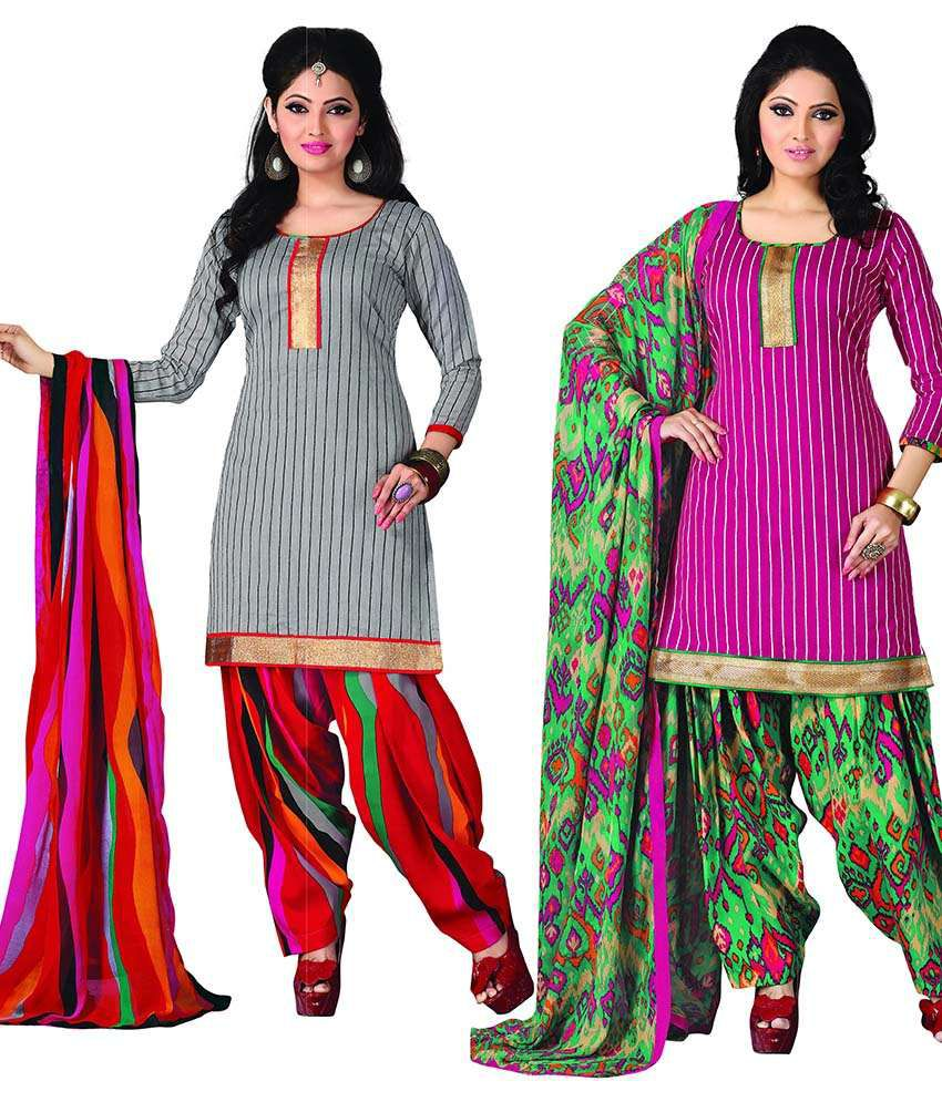 Lovely Look Multi Color Chanderi Unstitched Dress Material