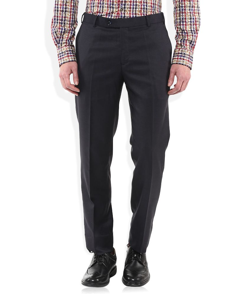 Park Avenue Navy Regular Fit Formal Trousers