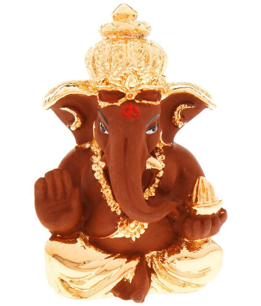 Veevi Brown And Gold Mughat Lord Ganesh Idol