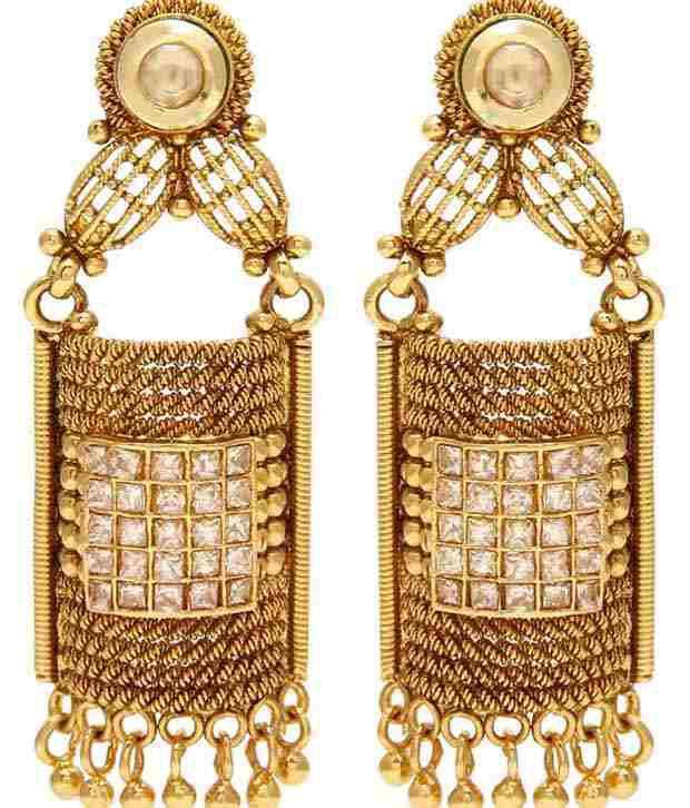 Jewels Galaxy Golden American Diamond Jhumkis