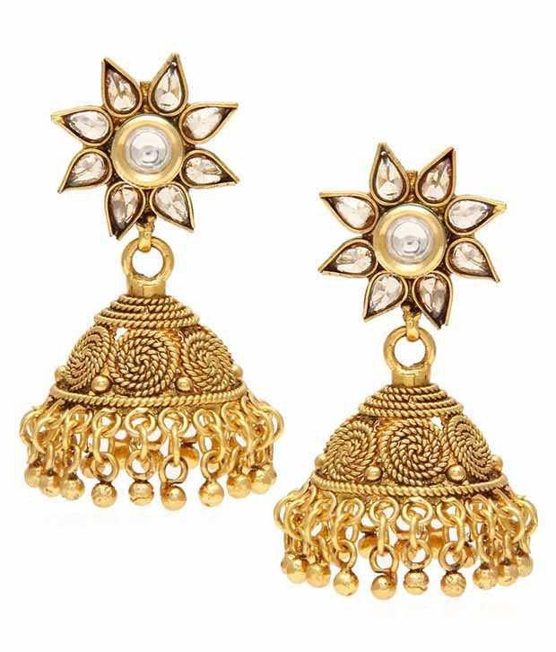 Jewels Galaxy 18Kt Gold Plated Kundan Jhumka