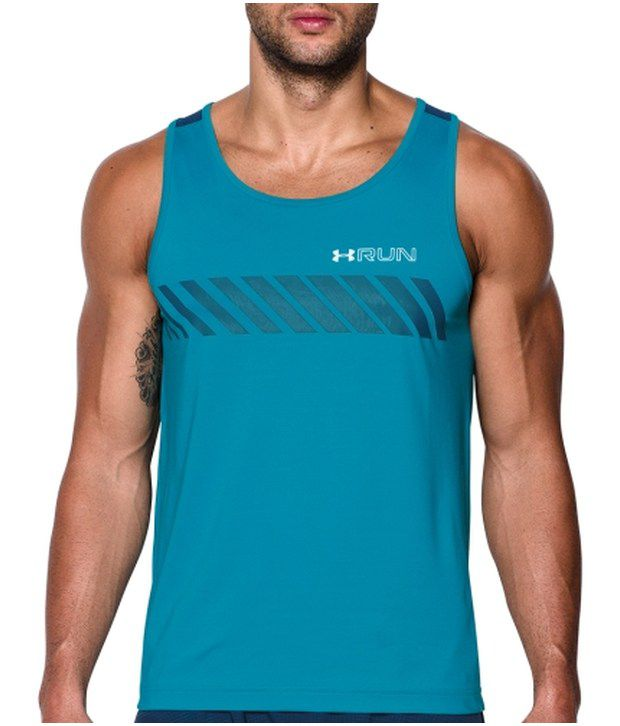 Under Armour Under Armour Blue Mens Heat Gear Armour Vent Apollo Running Tank