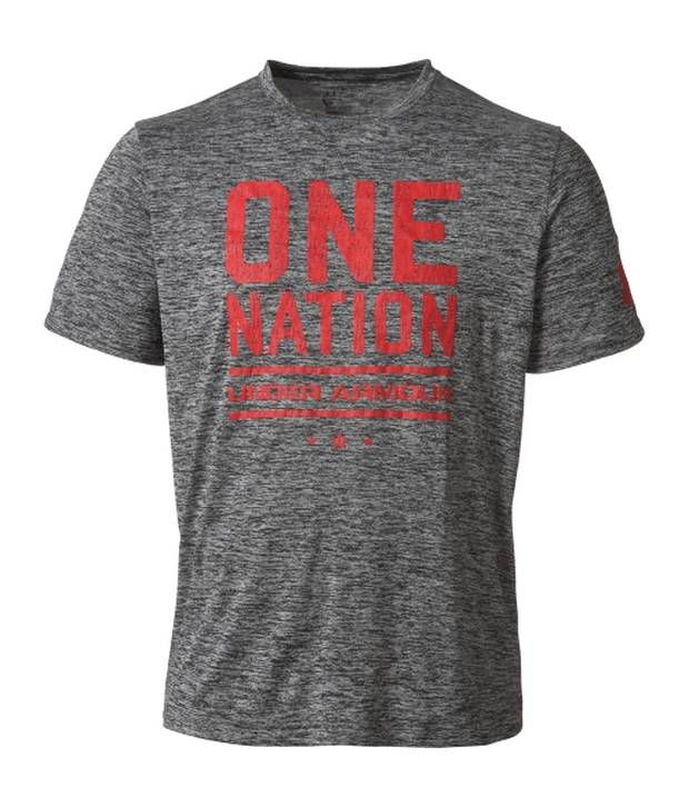 Under Armour Under Armour Grey Mens Charged Cotton One Nation Graphic T-shirt