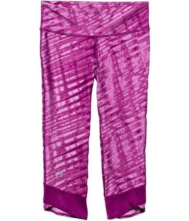 Under Armour Under Armour Purple And Black Womens Fly-by Printed Running Three Fourth (pack Of 2)