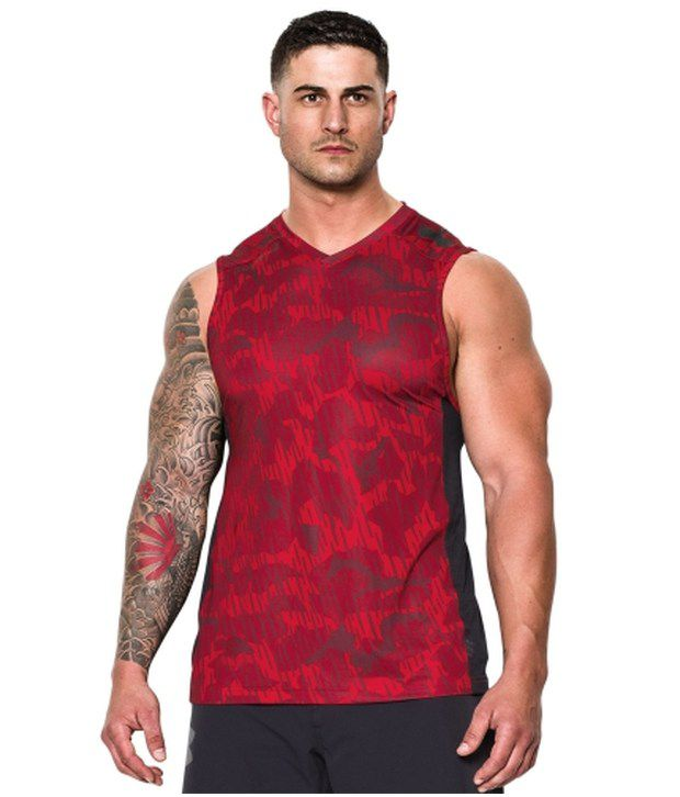 Under Armour Under Armour Red Mens Combine Training Blur Printed Sleeveless Tank