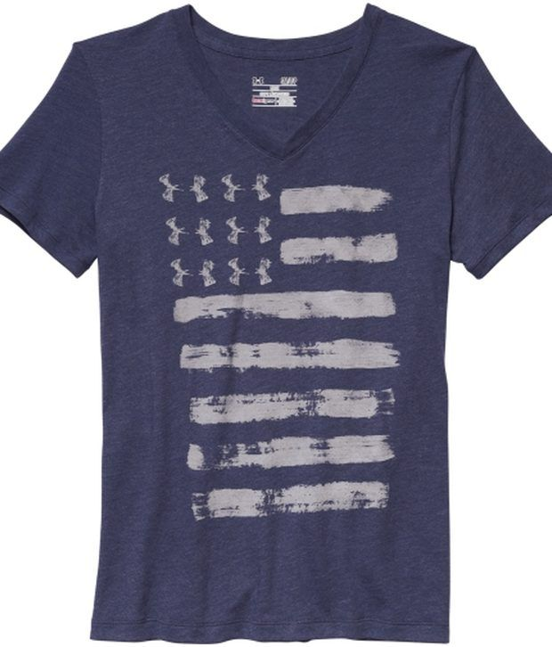 Under Armour Under Armour White And Blue Womens Charged Cotton Tri-blend Patriotic V-neck Graphic Tees (pack Of 2)