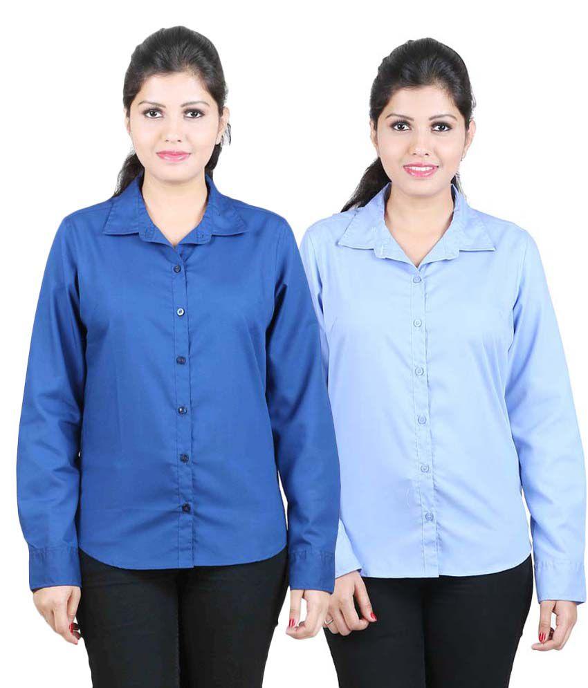 Sanju Darkblue & Skyblue Cotton Combo Shirts