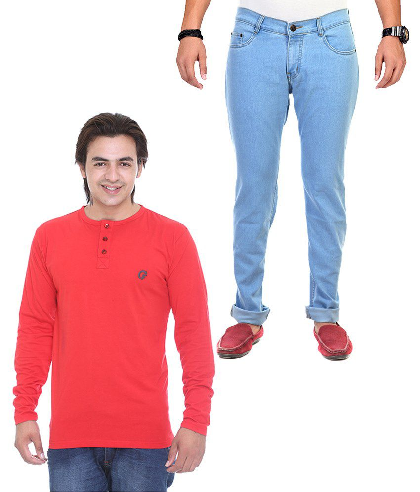 Ave Combo Of Blue Jeans & Red T Shirt Pack Of 2