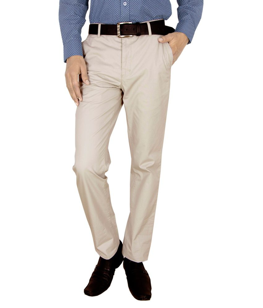 Integration White Regular Fit Casual Trouser