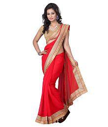 Aai Shree Khodiyar Art Red Chiffon Saree