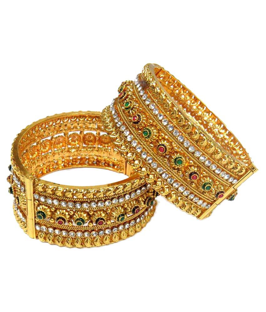 Aishwarya Design Studio Golden Brass Bridal Pair Of Kadas
