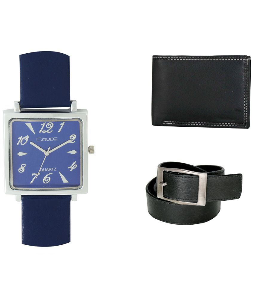 Crude Combo of Blue Leather Analog Quartz Watch, Belt and Wallet