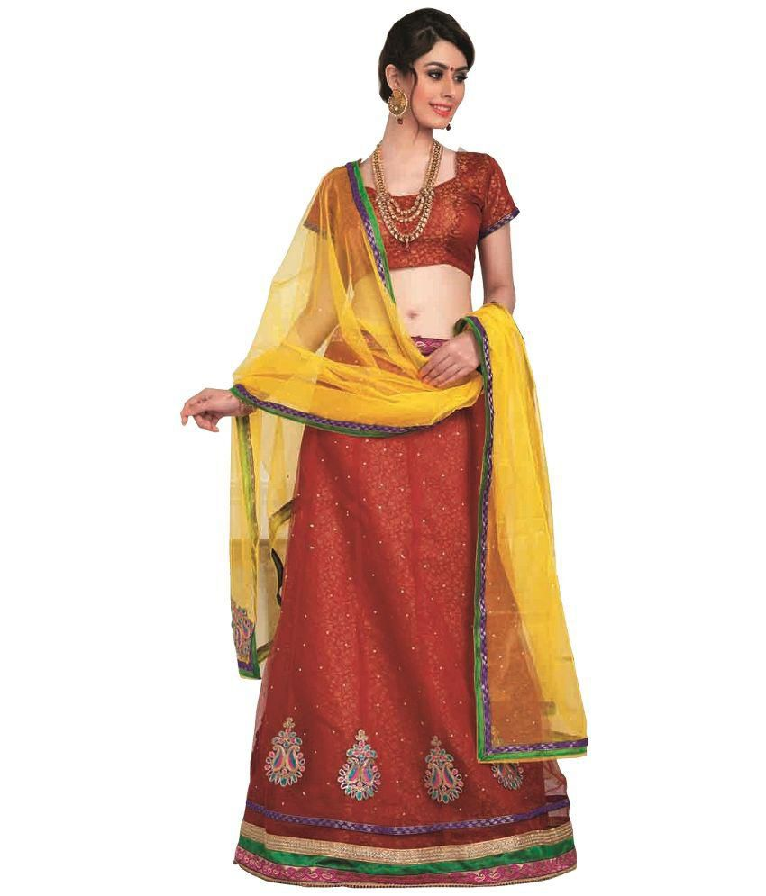 efc20e5bde lajo fashion Brown Brocade Lehenga - Buy lajo fashion Brown Brocade Lehenga  Online at Best Prices in India on Snapdeal