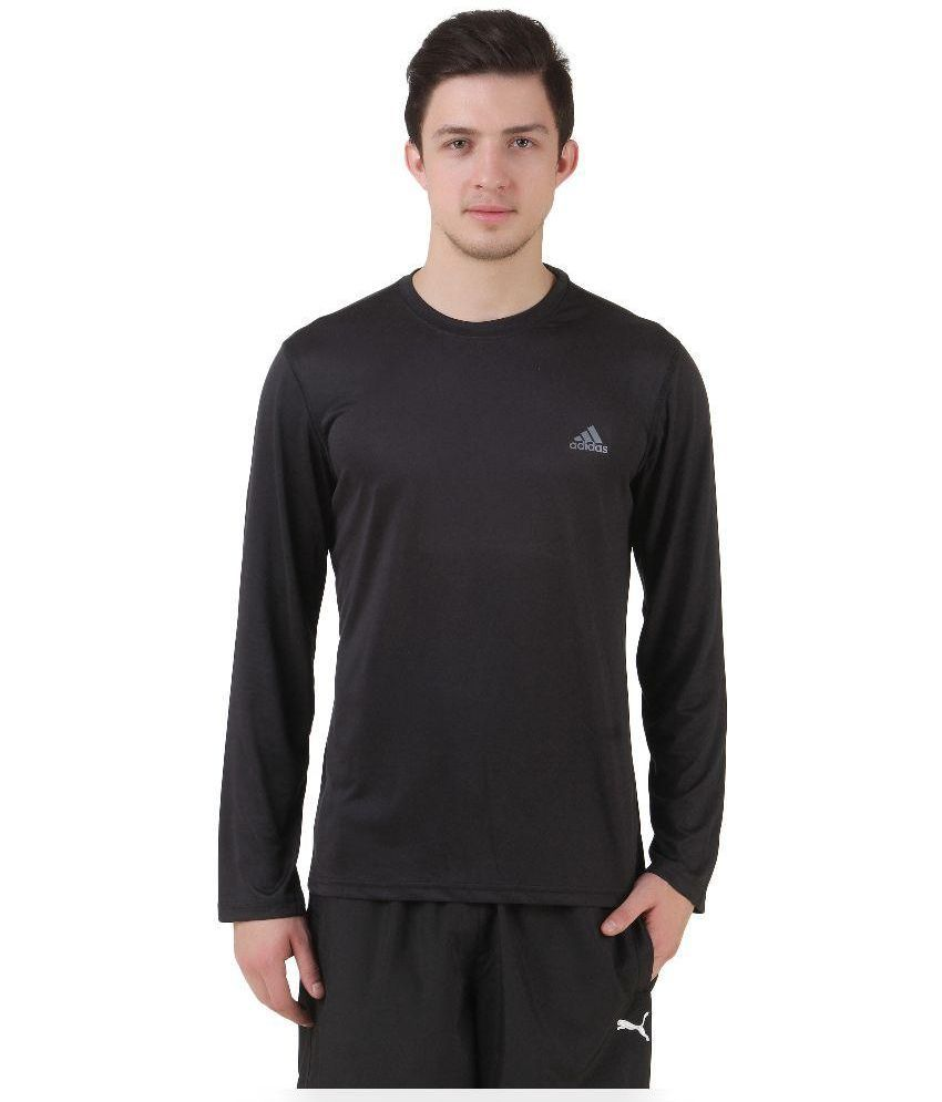 cc743b5fb ADIDAS BLACK FULL SLEEVE T-SHIRT - Buy ADIDAS BLACK FULL SLEEVE T-SHIRT  Online at Low Price in India - Snapdeal