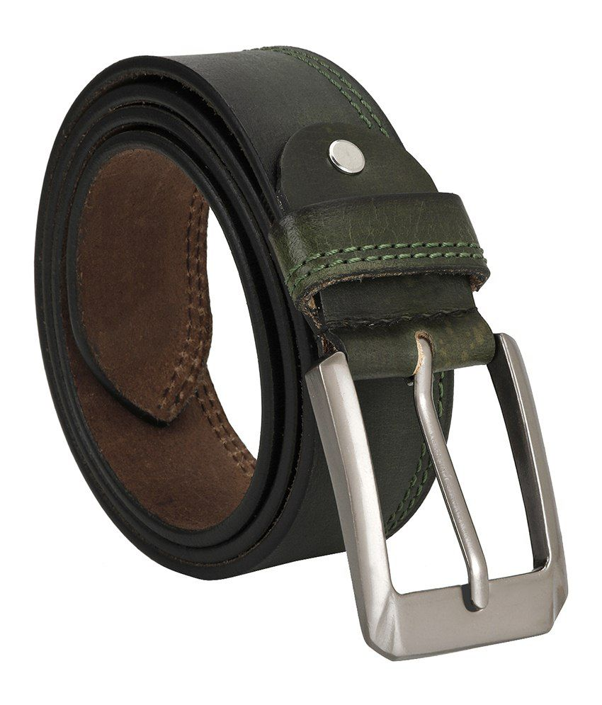 Jsj Green Leather Belt For Men