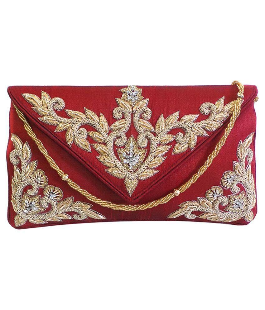 Bhamini Maroon Silk Clutch