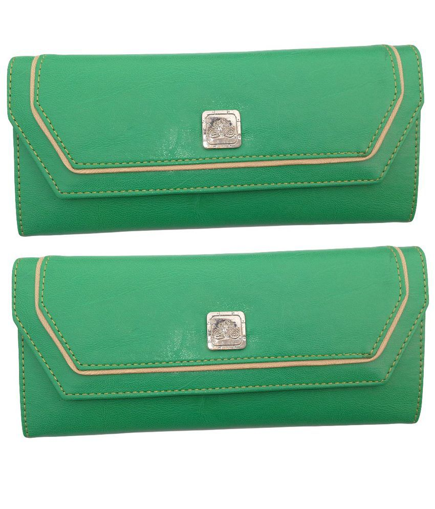 Alifs Green Regular Wallet For Women - Pack Of 2