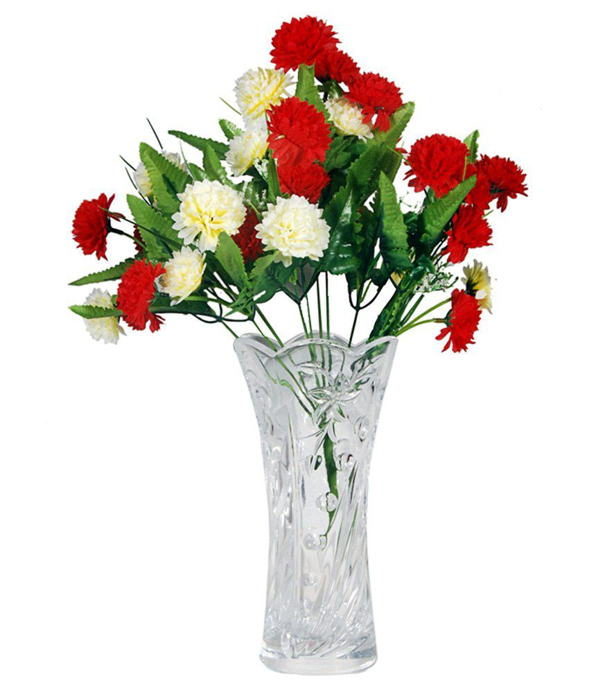 Orchard Crystal Flower Vase With A Bunch Of Red White