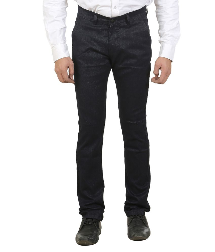 Ethzone Blue Regular Fit Formal Flat Trouser