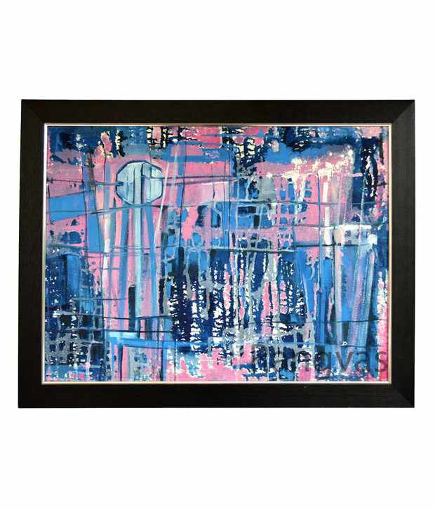 Rangvas Blue Wooden Oil Painting With Frame