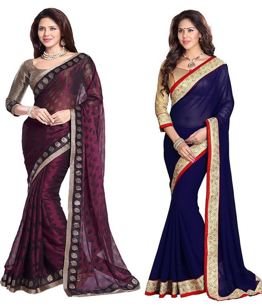 Asha Fashion Purple And Blue Chiffon Pack Of 2