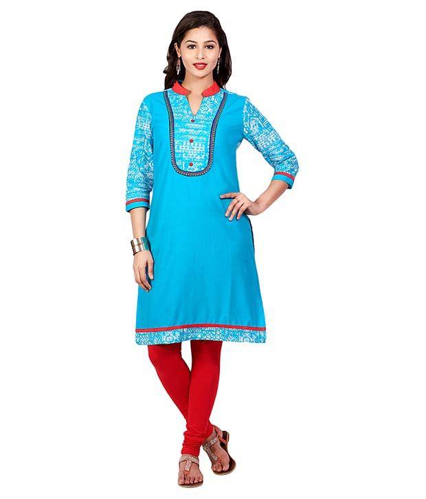 Mytri Turquoise Straight Cotton Kurti