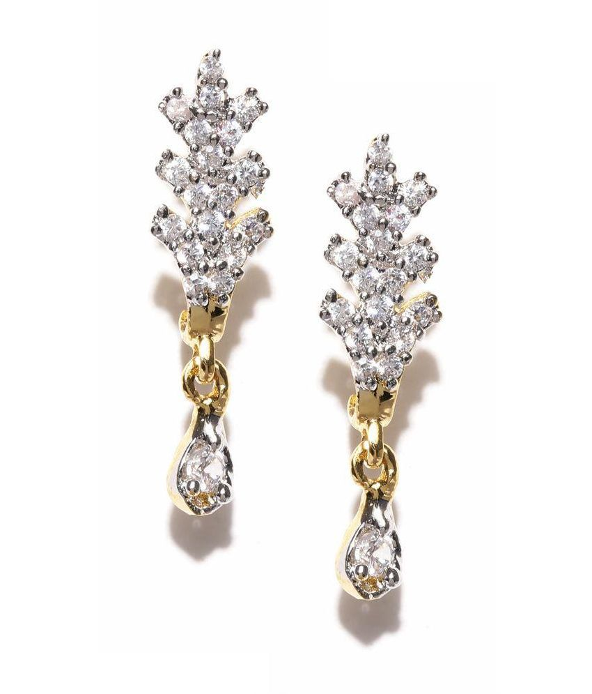 Zaveri Pearls Golden Stud Earrings