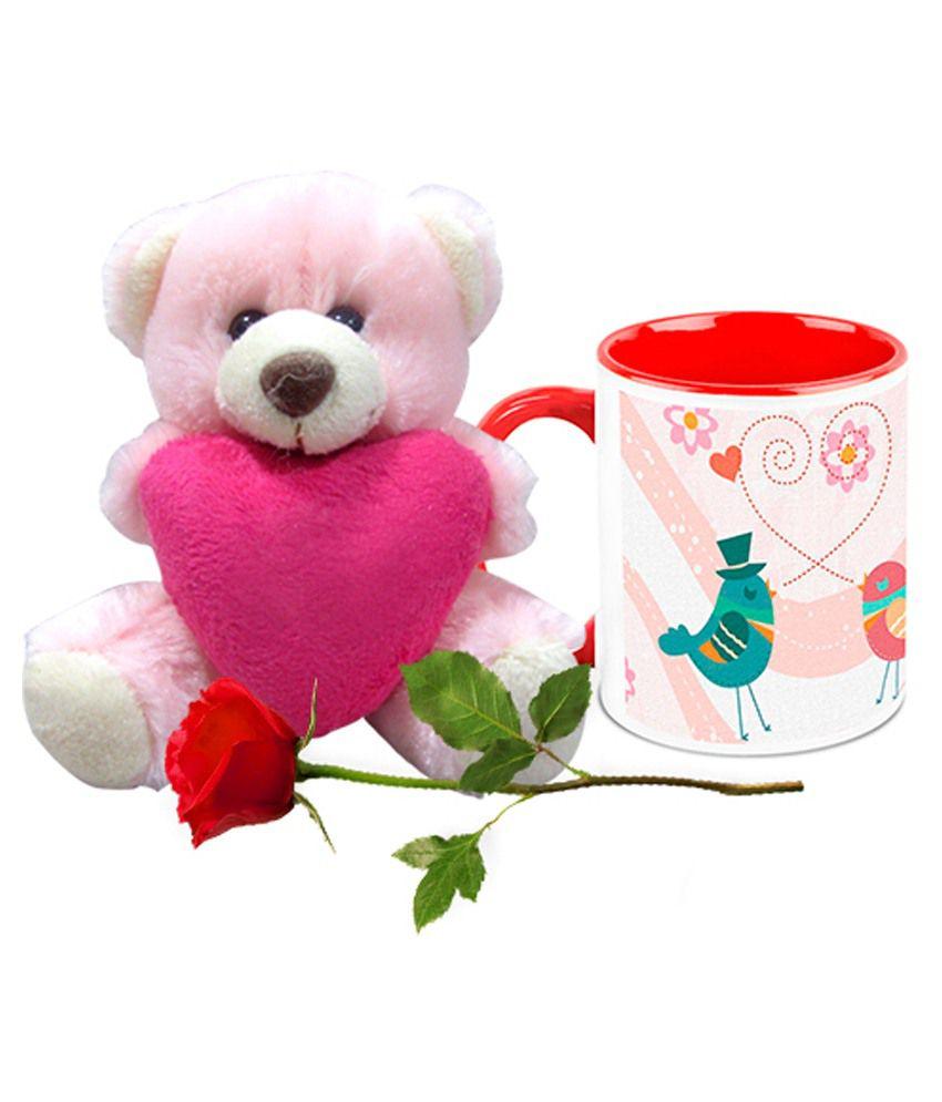 Valentine Gifts Homesogood Speaking Love White Ceramic Coffee Mug With Teddy & Red Rose