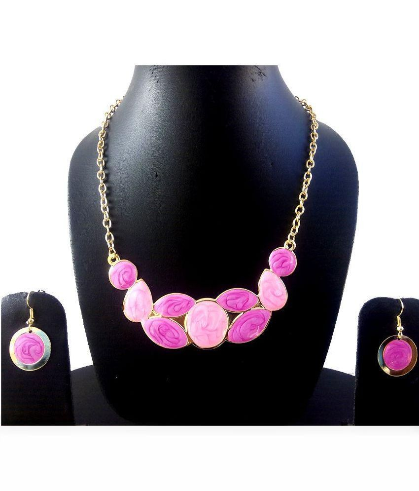 Pridetrend Pink Designer Necklace Set