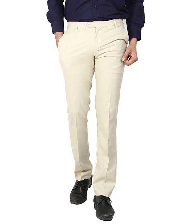 Follow Up Beige Regular Fit Formal Flat Trousers