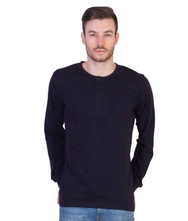 Acomharc Inc Navy Cotton Full Sleeve Henley Tshirt
