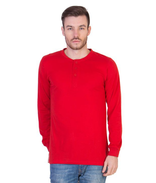Acomharc Inc Red Cotton Full Sleeve Henley Tshirt