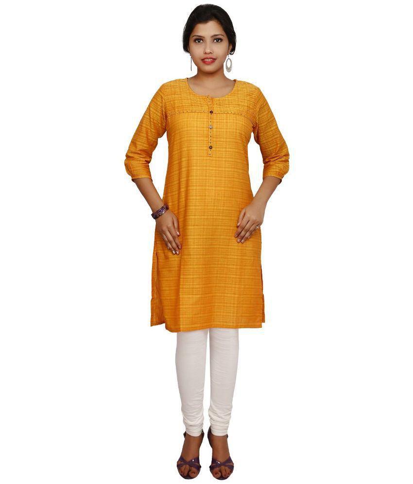 Thraya Yellow Straight Cotton Kurti