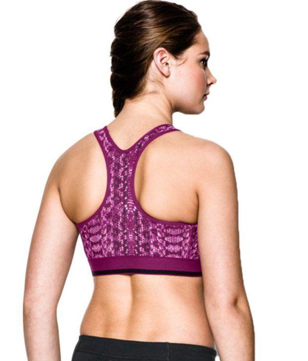 Under Armour Under Armour Women's Heatgear Alpha Printed Sports Bra, Island Blue Batik Stripe