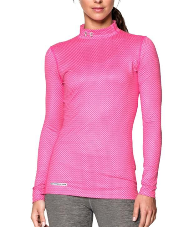 Under Armour Under Armour Women's Coldgear Printed Mock Neck Long Sleeve Shirt, Rebel Pink/pink Shadow