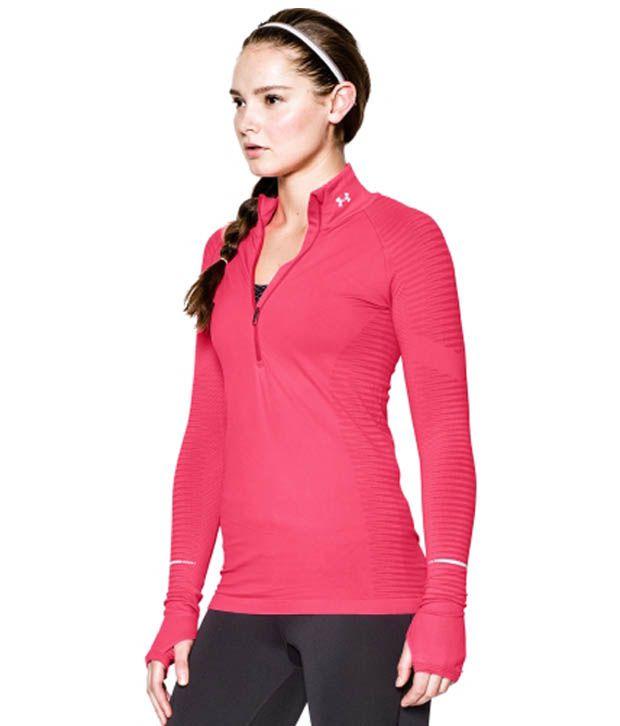 Under Armour Under Armour Women's Run Seamless Half Zip Long Sleeve Shirt, Pink Shock/pink Shock/ref