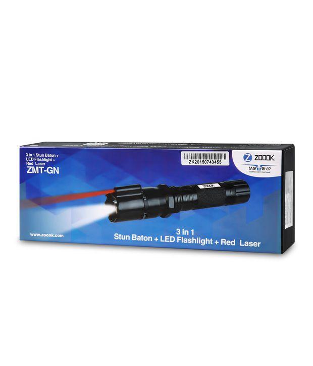 Zoook Moto69 Rechargeable Taser Heavy Duty Stun Baton - Self Defence Women  Safety (Stun Baton + Led Flashlight + Red Laser)
