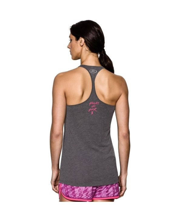 Under Armour Under Armour Women's Power In Pink Go Fight Cure Graphic Tank Top, Carbon Heather/cerise