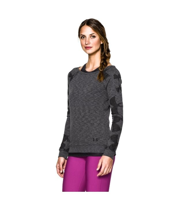 Under Armour Under Armour Women's Kaleidalogo Pullover Long Sleeve Shirt, Carbon Heather/black